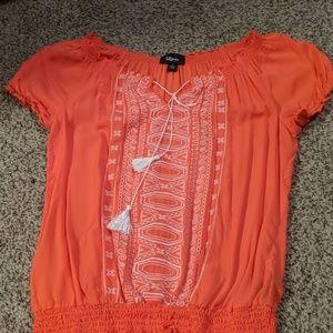 Bright orange boho blouse